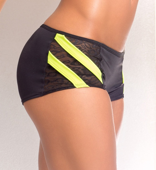 VV024, Scrunch back short with neon yellow band and side lace