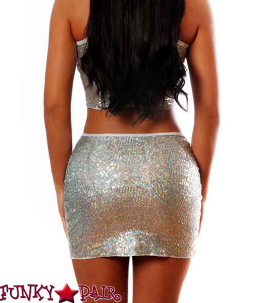 NY008, One Size, Sequin high waist skirt color Silver