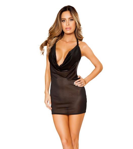 LI133, Mesh Cowl Neck Mini Dress