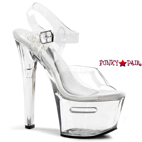 Stripper shoes TIP JAR-708-2, 7 Inch High Heel with 2.75 inch Platform shoes with compartment base