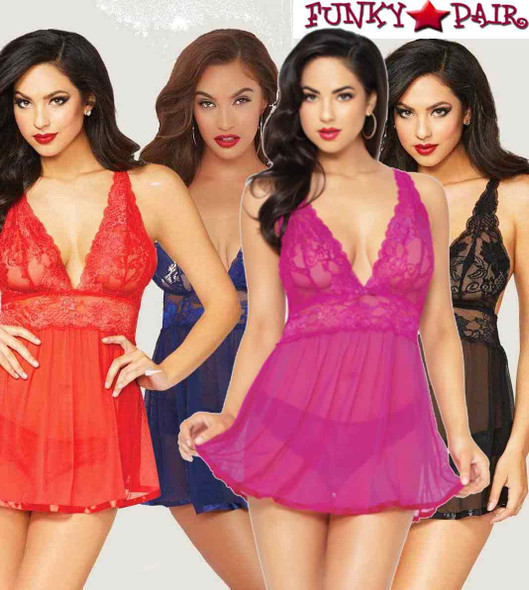 STM-10672, Floral Galloon Lace Babydoll Set | FunkyPair.com