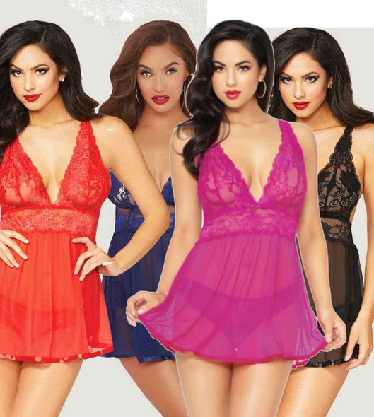 STM-10672, Floral Galloon Lace Babydoll Set color available: black , red, blue, fuchsia