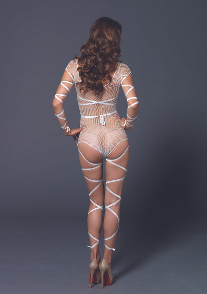 LA89174, Fishnet Teddy with Attached Wrap for Leg and Arm