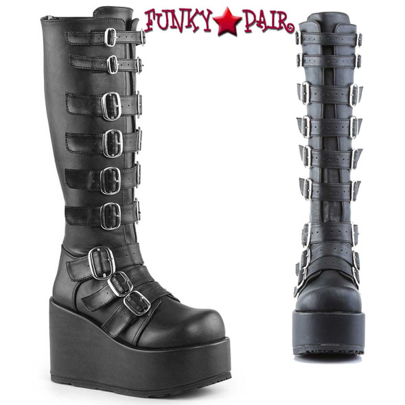 Demonia CONCORD-108, Goth Punk Lolita Gogo Buckled Platform Knee Boot