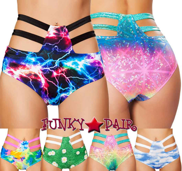 Roma | SH3256, Rave High-Waisted Strapped Shorts Color available: Tie Dye, Electric, Multi laser Hologram, Grass, Cloud