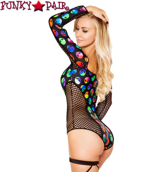 Roma | R- 3272, Rave Two Tone Alien Fishnet Romper side view