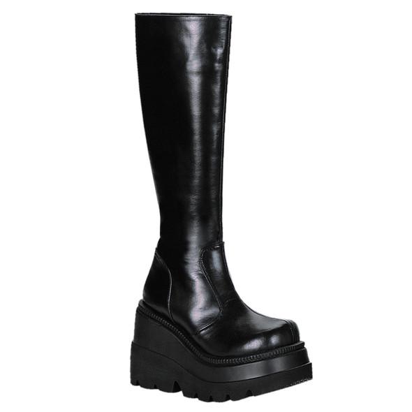 SHAKER-100, Goth Wedge Platform Knee High Boot By Demonia