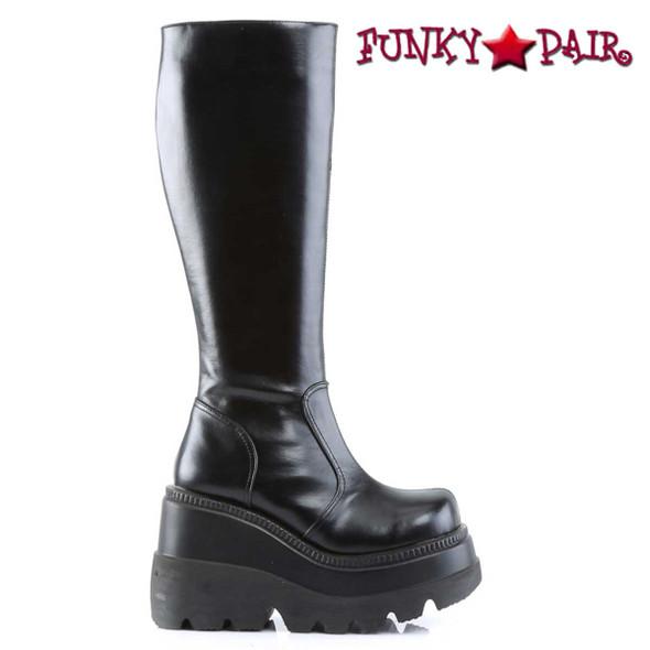 Demonia SHAKER-100, Goth Wedge Platform Knee High Boot