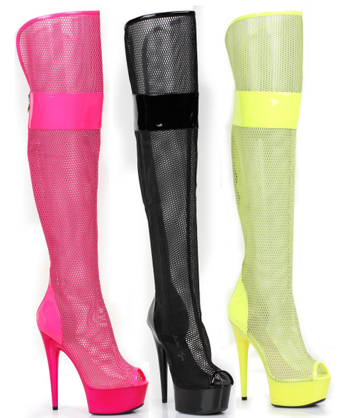 "Ellie Shoes | 609-Ivy 6"" Mesh Thigh High Boots"