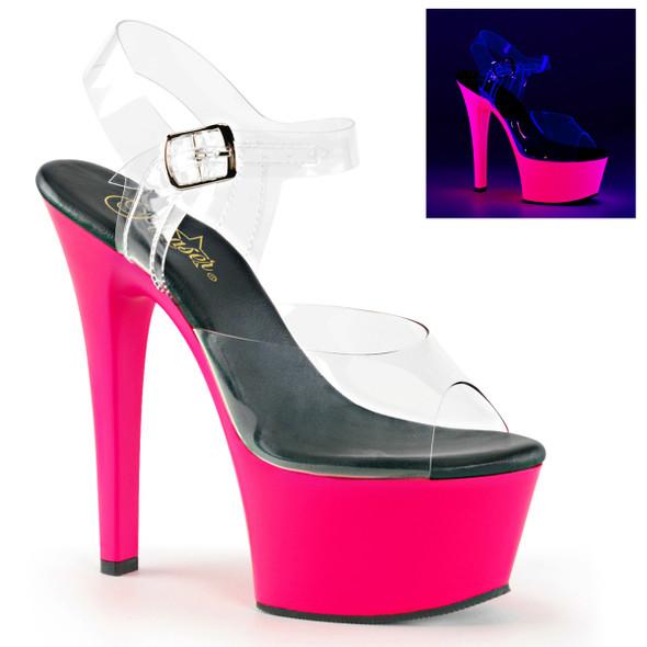 Pleaser Shoes Aspire-608UV, Ankle Strap with UV Bottom Platform
