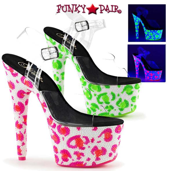 Pleaser | Bejeweled-708UVLP, UV Leopard Exotic Dancer Shoes
