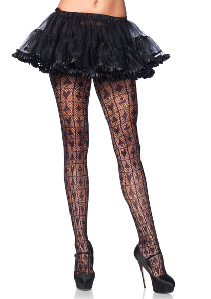 LA9987, Checkerboard Net Pantyhose