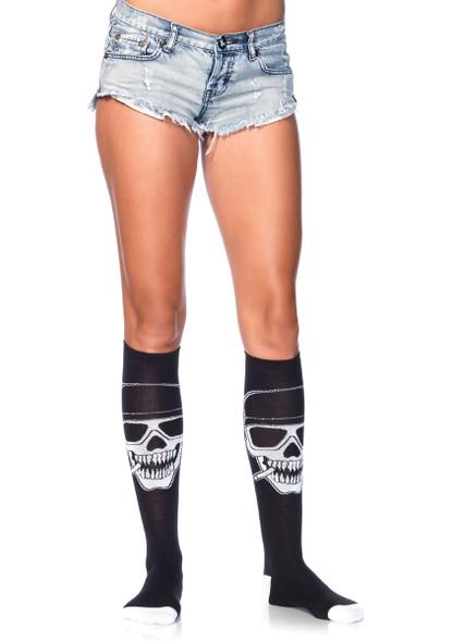 LA5603, Biker Skeleton Knee Highs