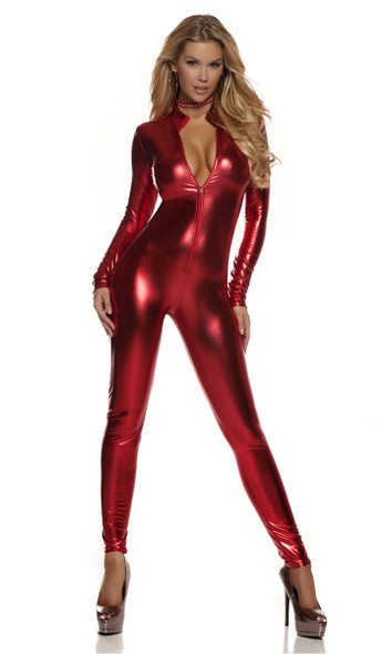 Sexy metallic mock neck zip front costume starter catsuit.