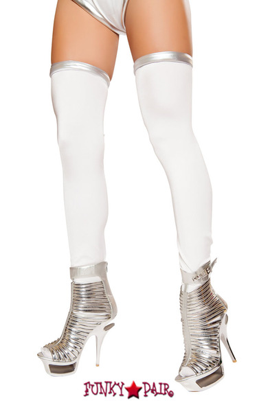 White with Silver trim Leggings