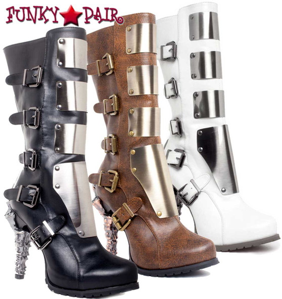 SteamPunk Knee High Biker Boots | Hades VARGA Available Color: Black, Brown and White
