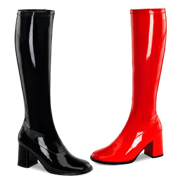 GOGO-300HQ, Dual Color Black/Red Gogo Boots | Funtasma