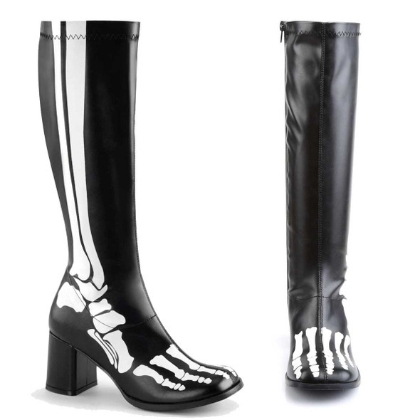GOGO-300XRAY, Boots with X-ray Skeleton print | Funtasma