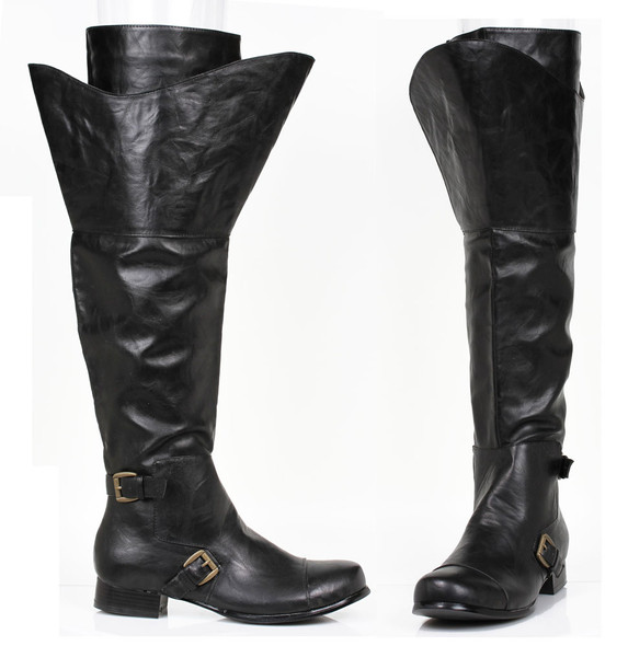 1 inch men knee high boots with buckles detail