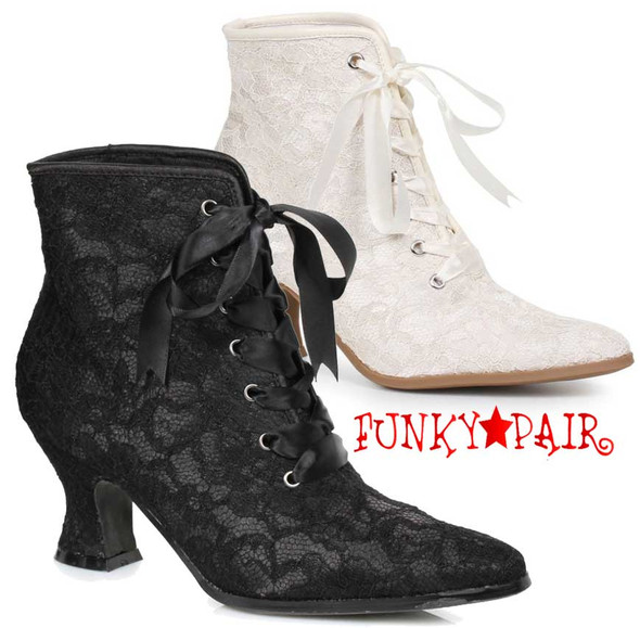 "Costume Boots | 253-Elizabeth 2.5"" Lace Ankle Boots"