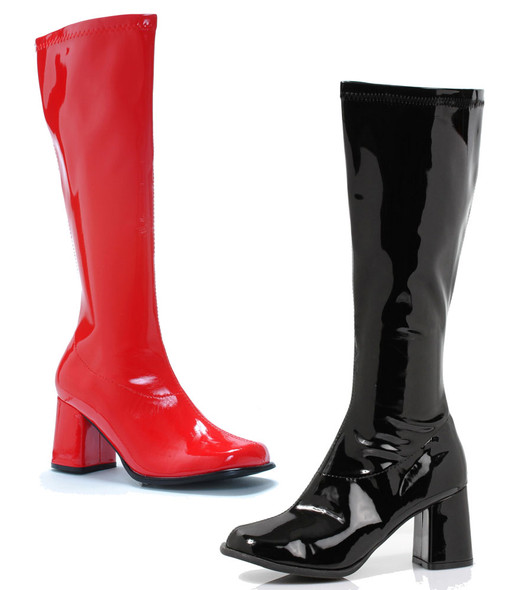 3 inch gogo boots with 1 red and the other black