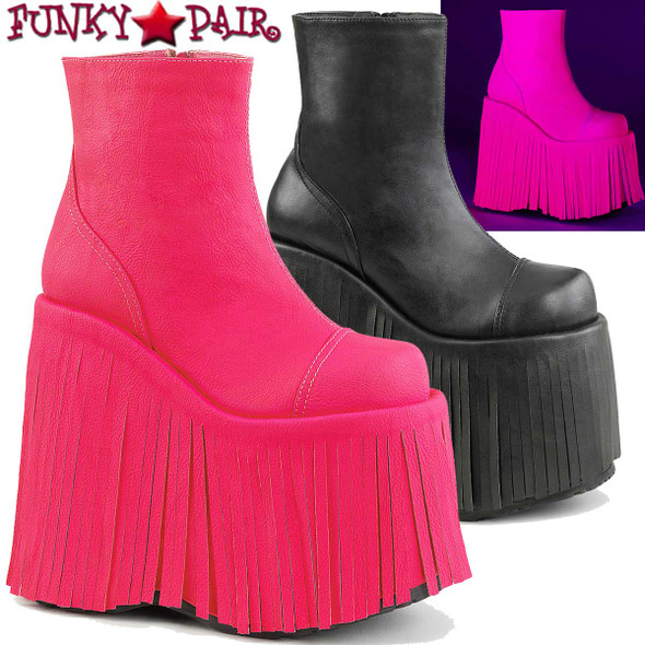 Demonia Slay-205, Rave Fringe Platform Ankle Boots
