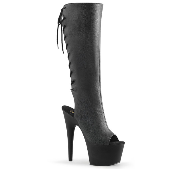 Adore-2018 Back Cut Out Lace Up Knee High Boots | Pleaser