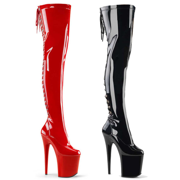 "Exotic Dancer 8"" Back Lace Thigh High Boots 
