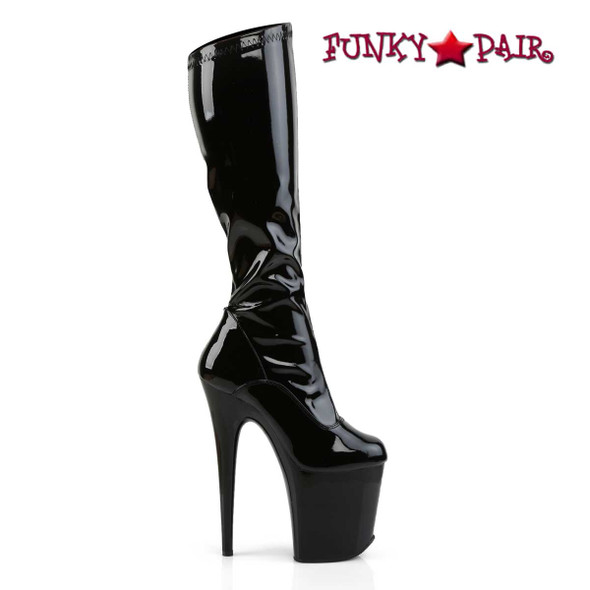Flamingo-2000 Platform Knee High Boots | Pleaser Side Zipper View