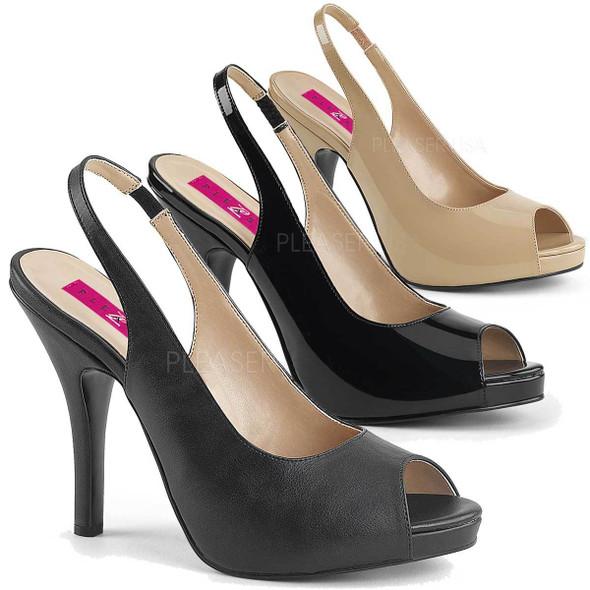 """Eve-04, 5"""" Heel Peep Toe Slingback Sandal Pink Label"""