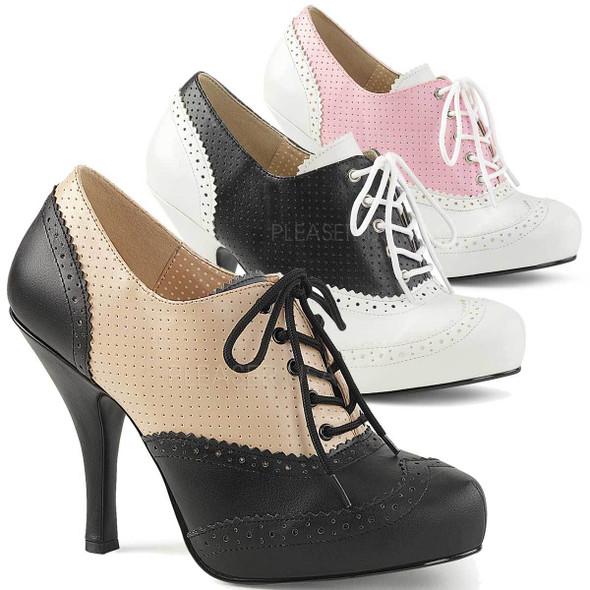 "Pinup-07, 4.5"" Heel Spectators Oxford Shoes | Pink Label"