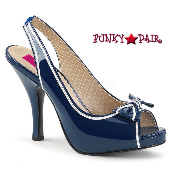 """Blue Pinup-10, 4.5"""" Heel Slingback Sandal with Contrast Trim   Pink Label"""