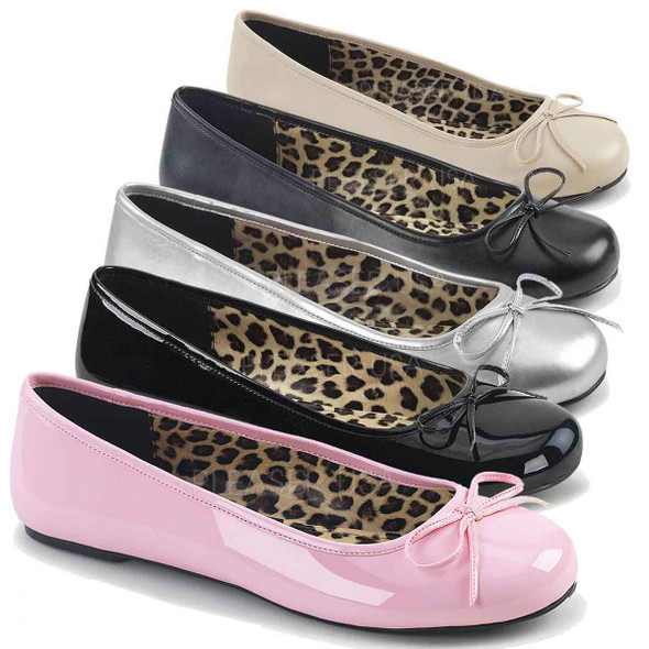 Pink Label | Anna-01, Adult Ballet Fat with Bow Size 9-16 color available: baby pink, cream, black patent, silver, black faux leather