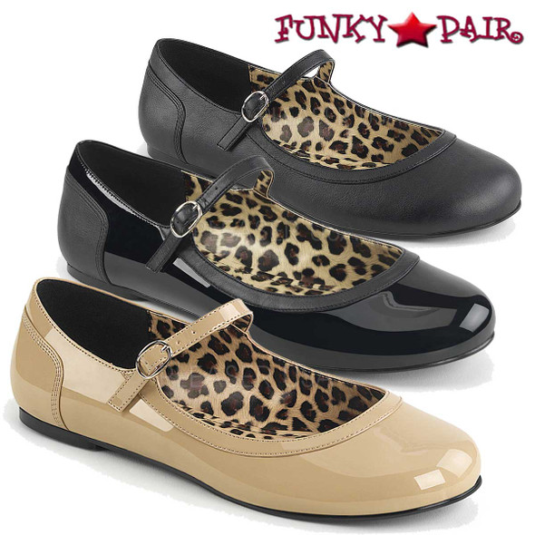 Crossdresser MaryJane Ballet Flat color available: black, cream