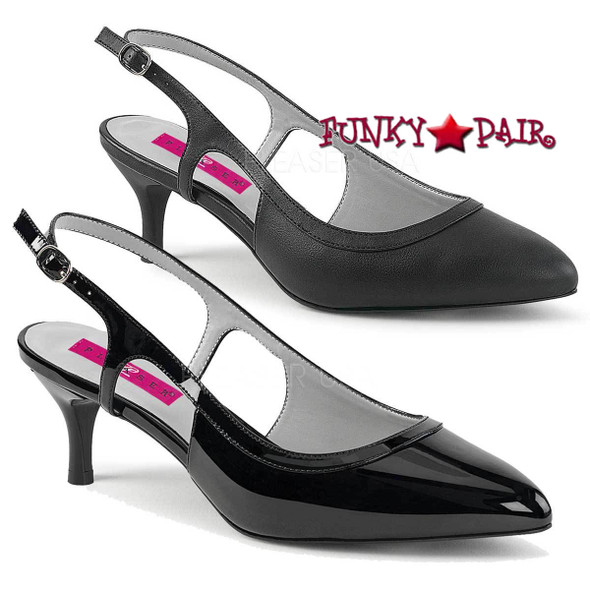 Pink Label | Kitten-02 Women Slingback Pump Plus Size 9-16 color available: black patent, black faux leather