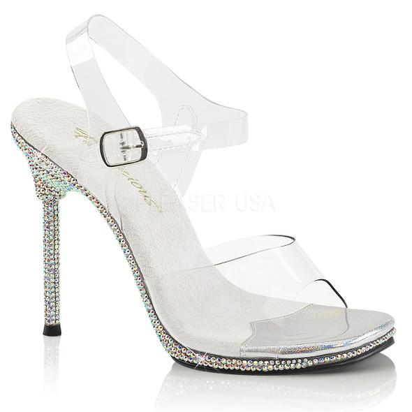Chic-08DM, 4.5 Inch Stiletto Heel Anke Strap Sandal with Rhinestones