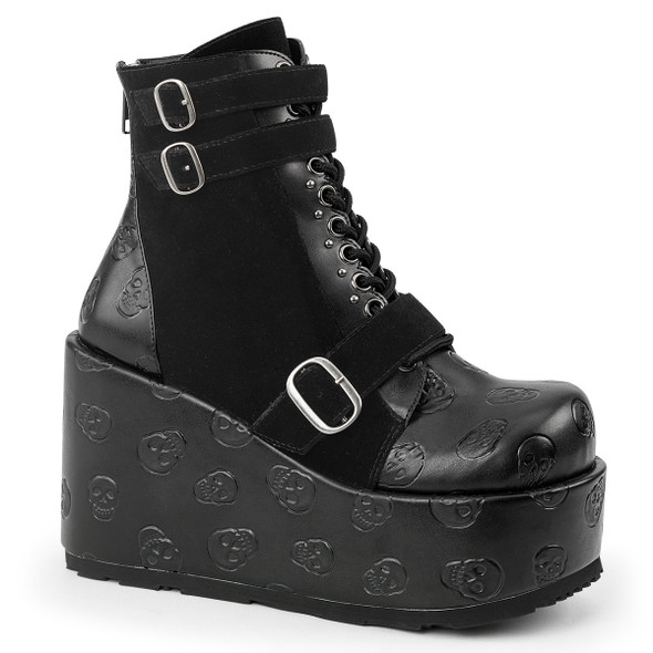 Concord-55, 4.5 Inch Chunky Wedge Ankle Boots by Demonia