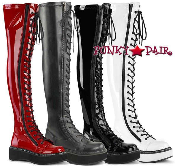 Demonia Emily-375, Goth Punk Thigh High Boots