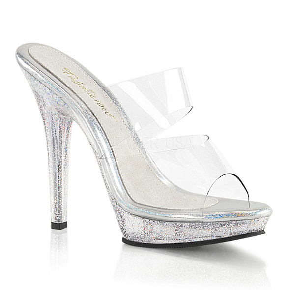 Lip-102MG, 5 Inch Heel Dual Band with Mini Glitters