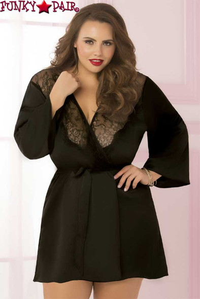 Plus Size Satin and Eyelash Robe STM-10695X color black