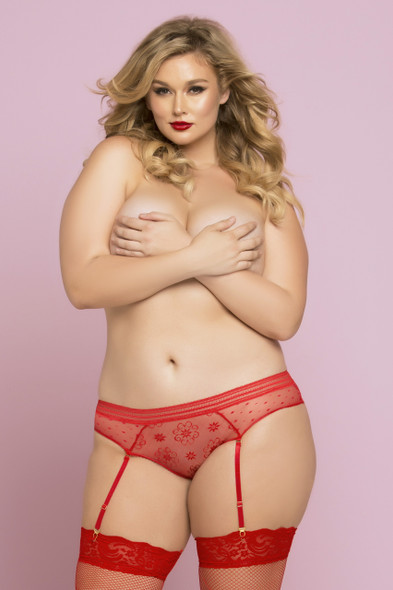 STM-10764X, Lace and Dot Mesh Panty Red