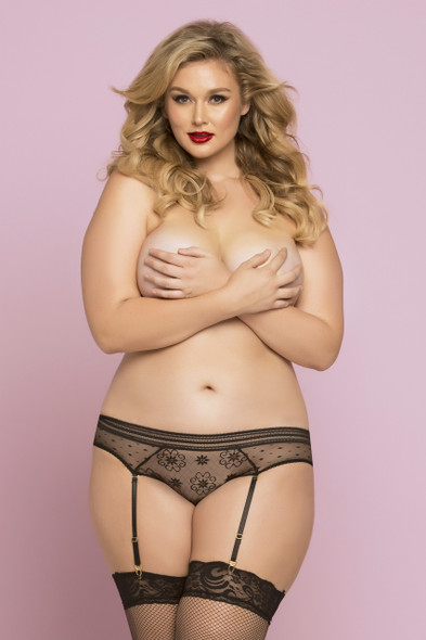 STM-10764X, Lace and Dot Mesh Panty Black