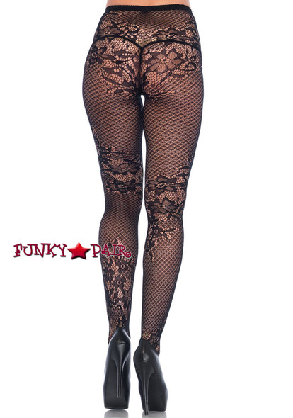 Women's Black Net and lace Tights | Leg Avenue LA9756 back view