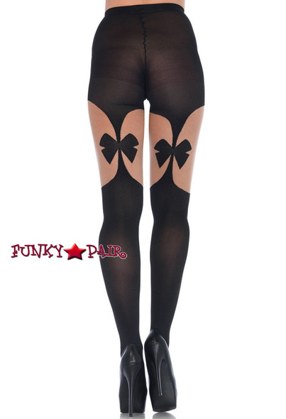 Black Opaque Garterbelts Tights | Leg Avenue LA7732  back view
