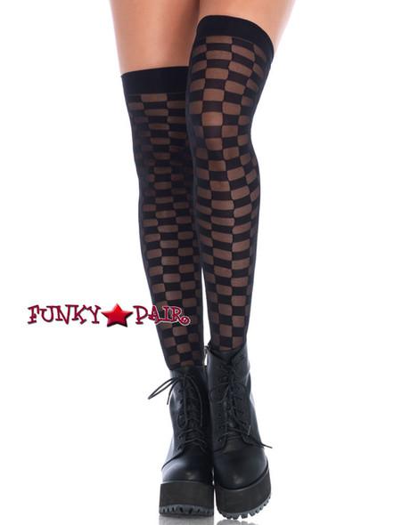 Black Checkerboard Stockings   Leg Avenue (LA6636)