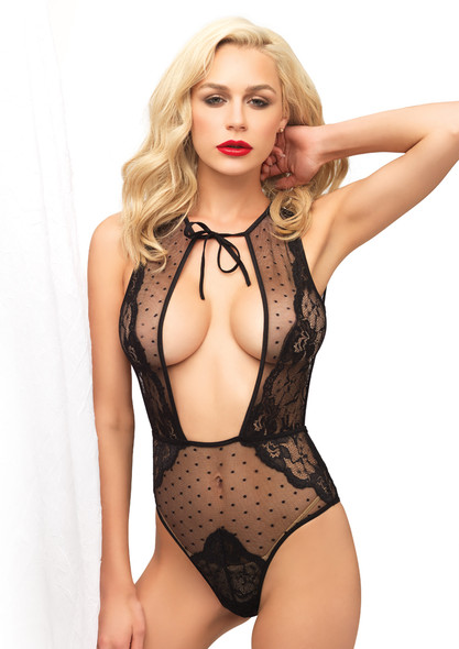 LA81533, Swiss Dot Sheer Lace Teddy