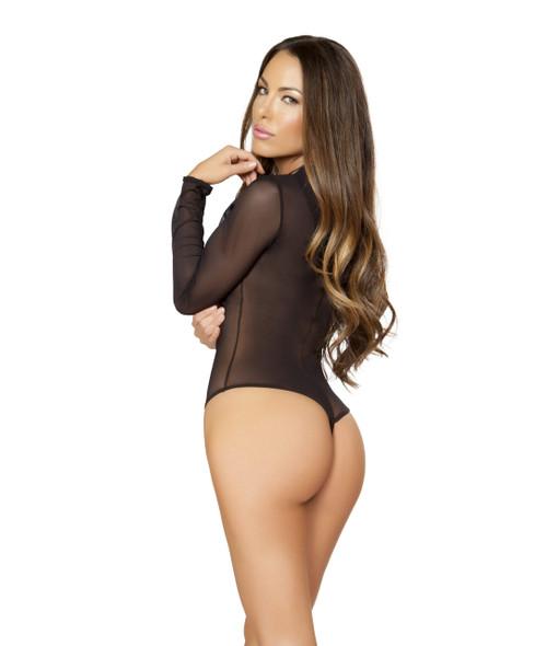 LI184, Sheer Lace up Front Bodysuit