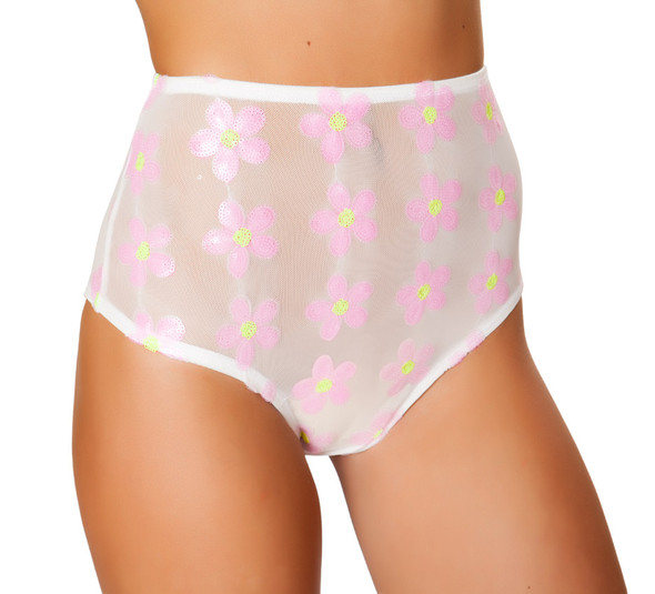 R-3472, Mesh Flower Accents High Waisted Shorts