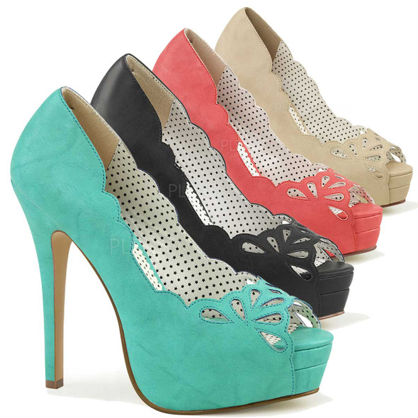 Bella-30, 5.25 Inch Heel Peep Toe Cutout Detail Pump