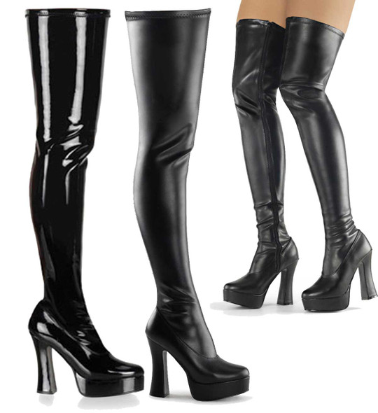 "5"" Platform Stretch Thigh High Boot 